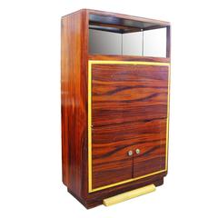 Art Deco Macassar Ebony Vitrine Cabinet with Bar and Secretary Desk