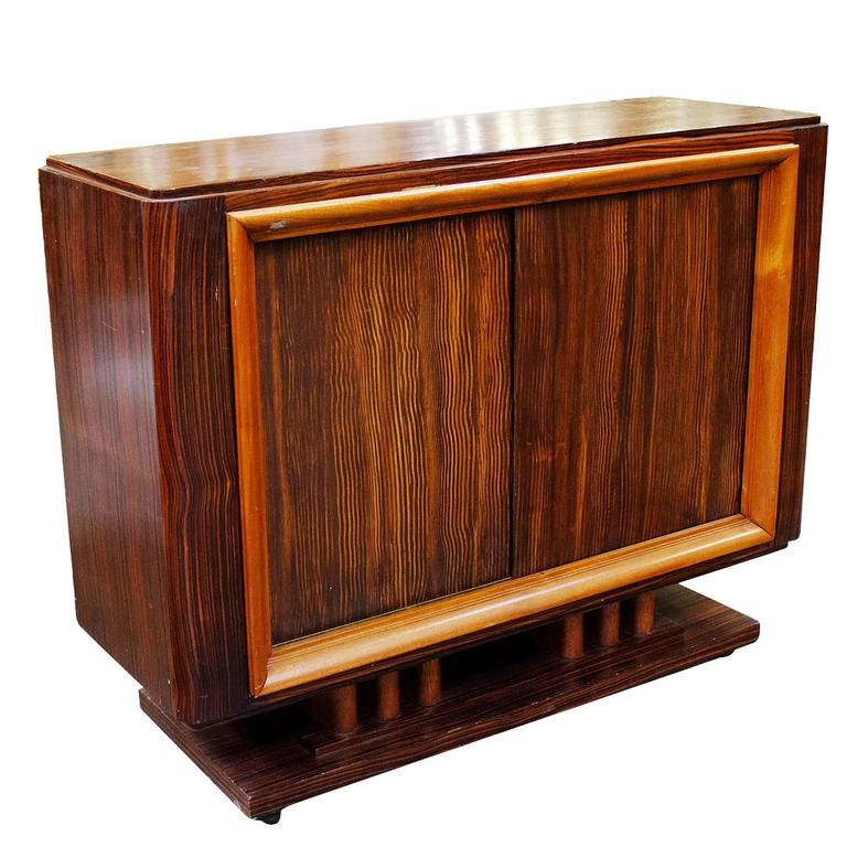 Geometric Art Deco Macassar Ebony Credenza with Combed Wood Doors