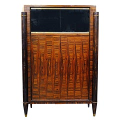 French High Style Art Deco Macassar Ebony Vitrine Cabinet