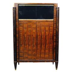 French High Style Art Deco Macassar Ebony Vitrine Cabinet