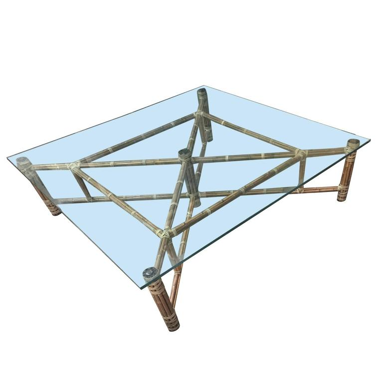 Large Bamboo And Glass Square Coffee Table By John McGuire 2