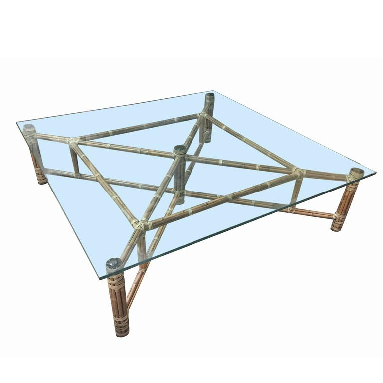 Large Bamboo And Gl Square Coffee Table By John Mcguire For