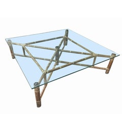 Large Bamboo and Glass Square Coffee Table by John McGuire