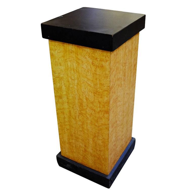 Art Deco Bird's-Eye Maple Pedestal with Black Top