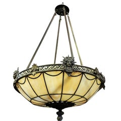 "Art Deco Inspired Bronze ""Liberty"" Stained Glass Chandelier"