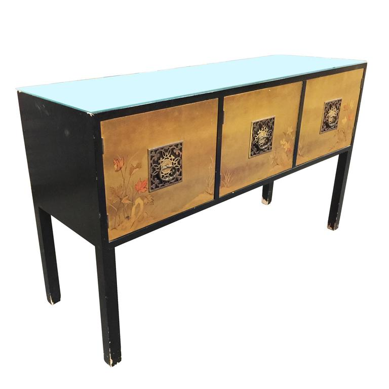 James mont style asian inspired console cabinet with hand for Asian console cabinet