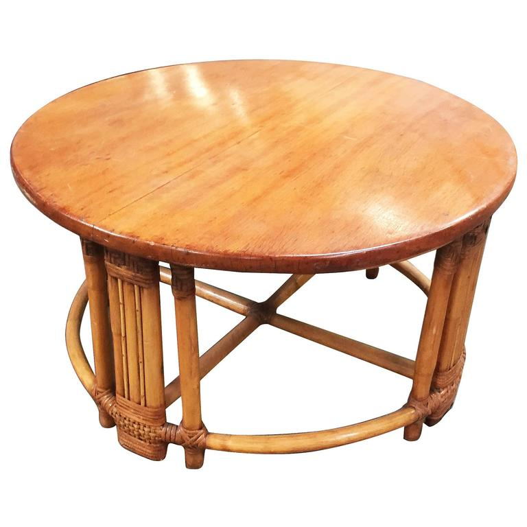 Restored Round Rattan Coffee Table with Mahogany Top