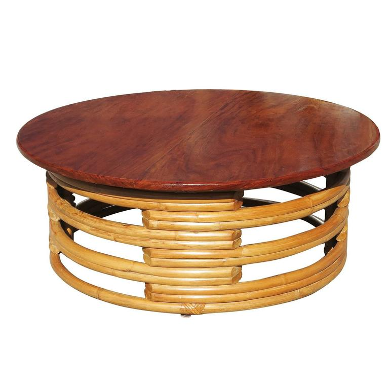 Mid-Century Modern Restored Round Rattan Coffee Table with Mahogany Top For Sale