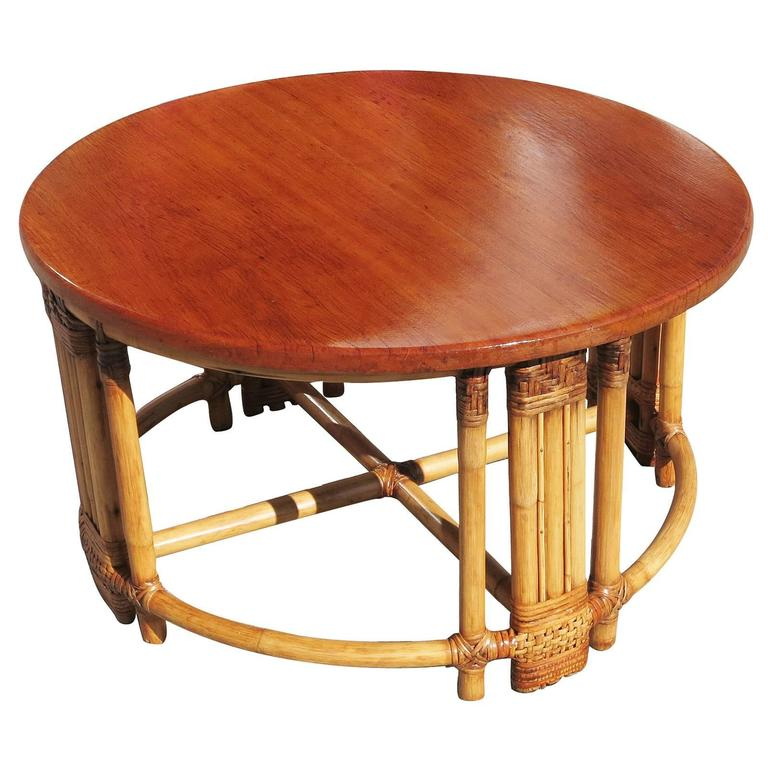 Bamboo Coffee Table Round: Round Rattan Coffee Table With Mahogany Top And Fancy