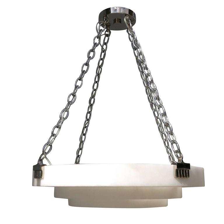 Small Art Deco Style Alabaster Chandelier, Style of Ruhlmann