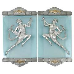 Art Deco Flapper Sconce Pair in the Style of Affortunato Gory