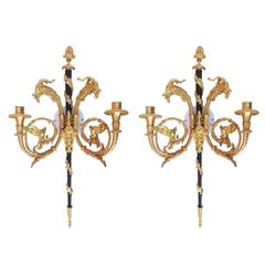 24-Karat Empire Style Candle Wall Sconces Pair w/ Goat Heads **Saturday Sale**