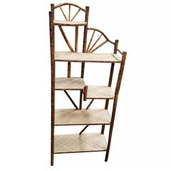 Restored Tiger Bamboo Five-Tier Shelf, Aesthetic Movement