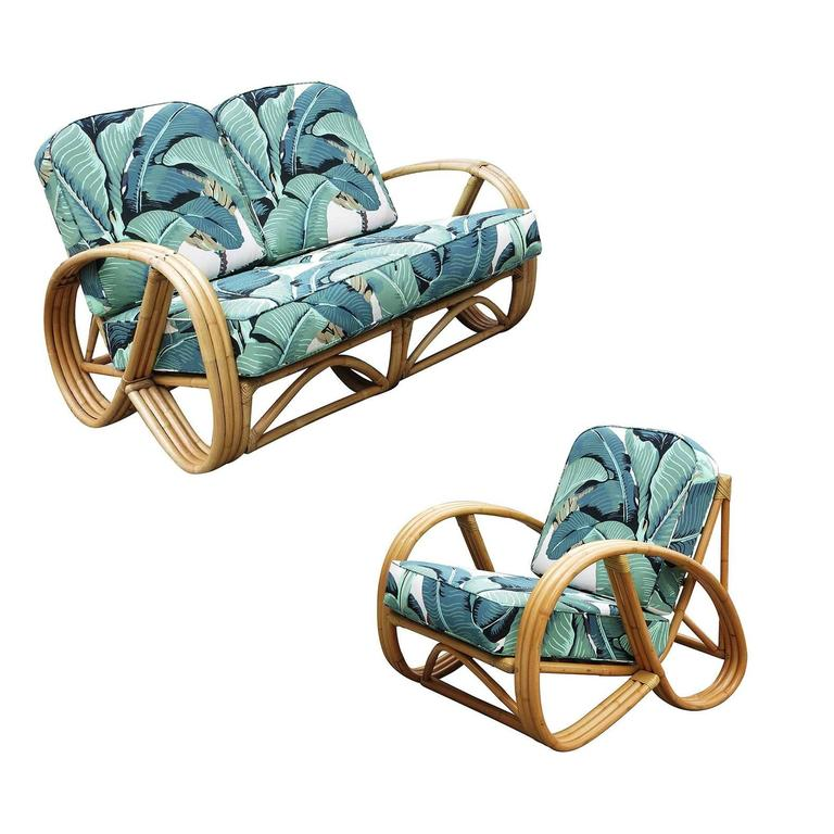 3/4 Round Pretzel Restored Rattan Lounge Chair & Sofa w/ Beverly Palms Cushions