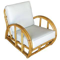 Restored Half Moon Rattan Two Strand Longue Chair