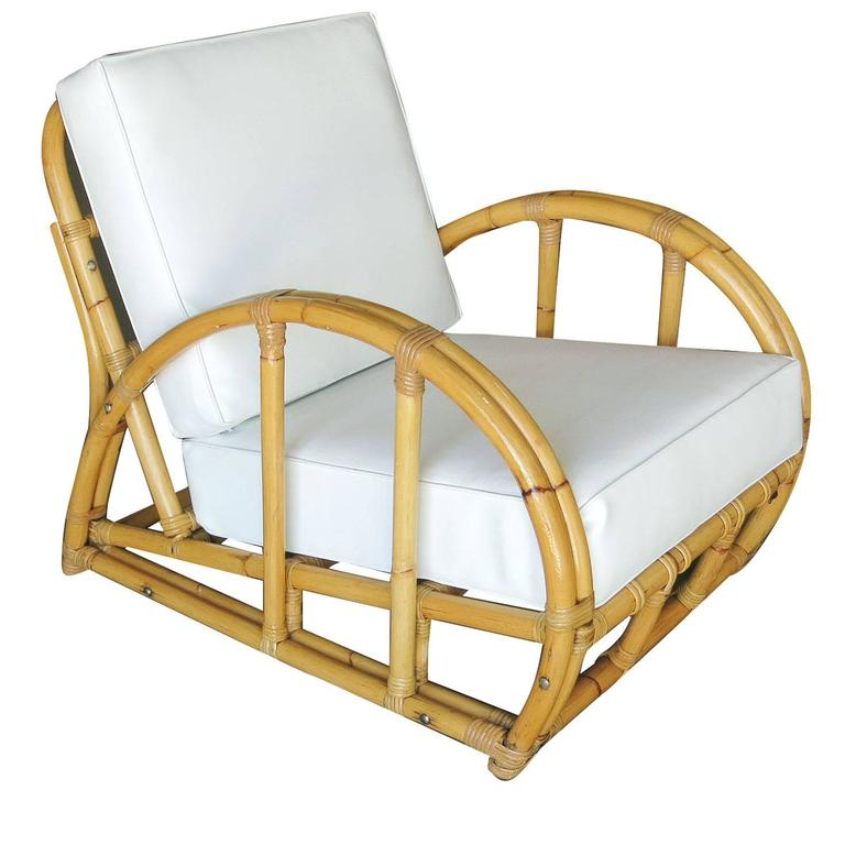 Beau American Restored Half Moon Rattan Two Strand Lounge Chair For Sale