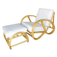 Restored 3/4 Pretzel Rattan Lounge Chair and Ottoman by Seven Seas Rattan