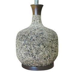 Milo Baughman Style Cork Table Lamp