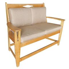 Blonde Wood Sofa with Clothespin Shaped Accents