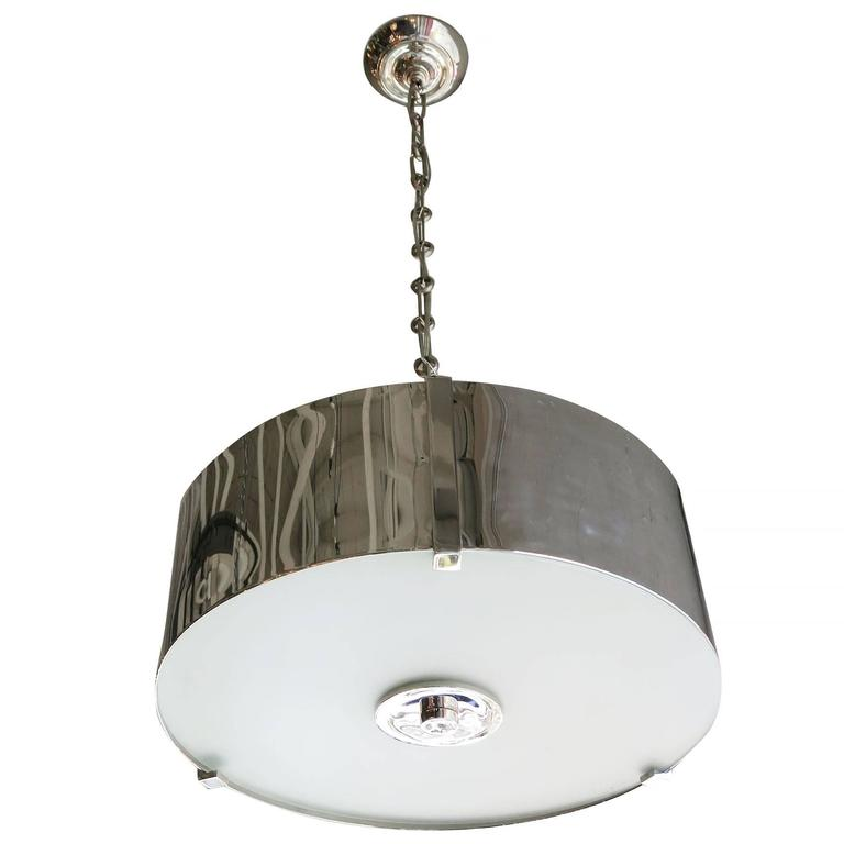Chrome Drum Chandelier with Frosted Glass Shade For Sale