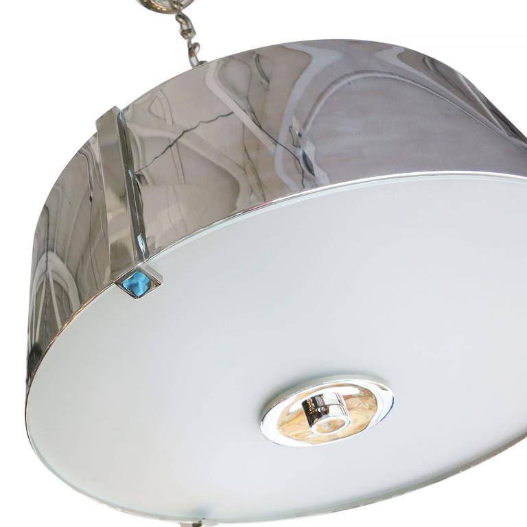 Post-Modern Chrome Drum Chandelier with Frosted Glass Shade For Sale