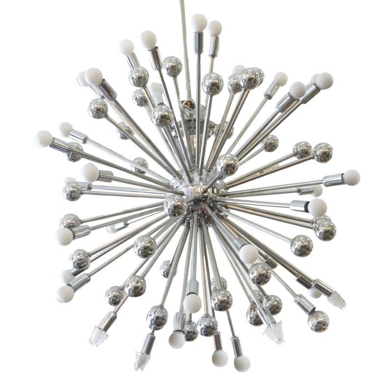 Mid-Century Style Chrome Multi-Light Sputnik Chandelier
