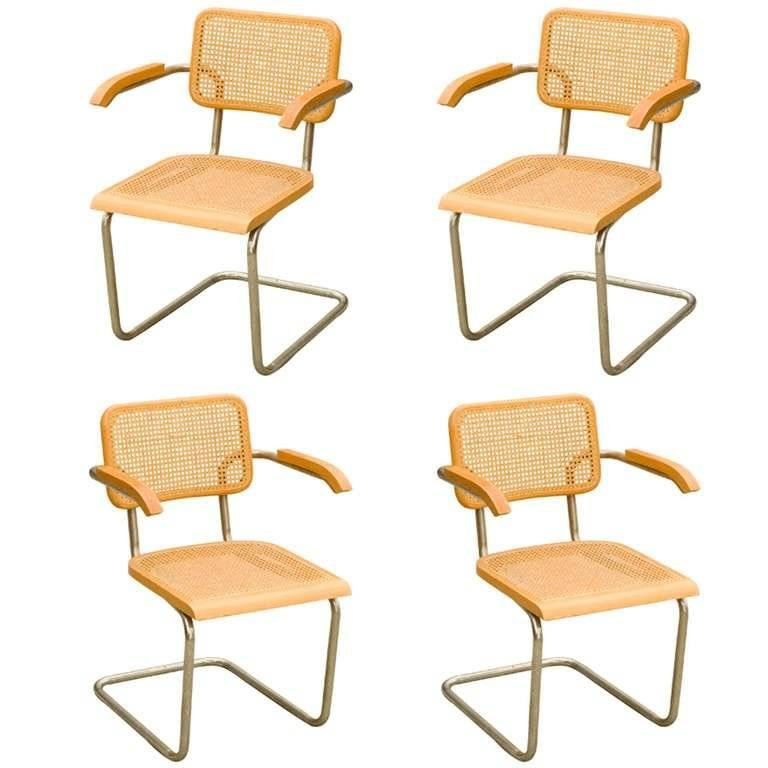 marcel breuer wicker back chrome cesca chairs for sale at 1stdibs. Black Bedroom Furniture Sets. Home Design Ideas