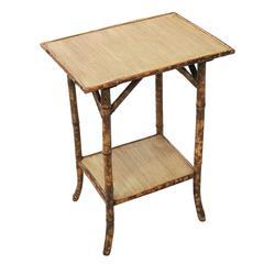 Restored Tiger Bamboo Pedestal Side Table with Bottom Shelf