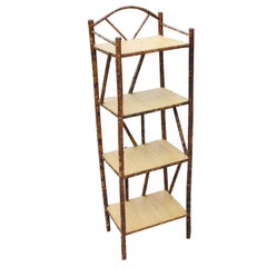 Restored Tiger Bamboo Four-Tier Shelf with Top Arch