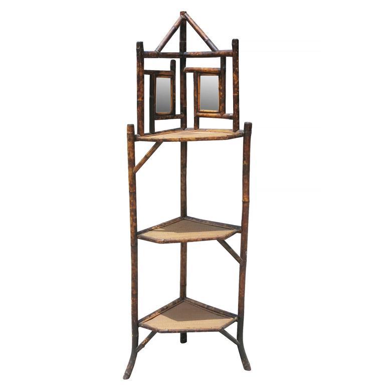 Restored Tiger Bamboo Three-Tier, Mirror Corner Shelf with Ricemat Shelves