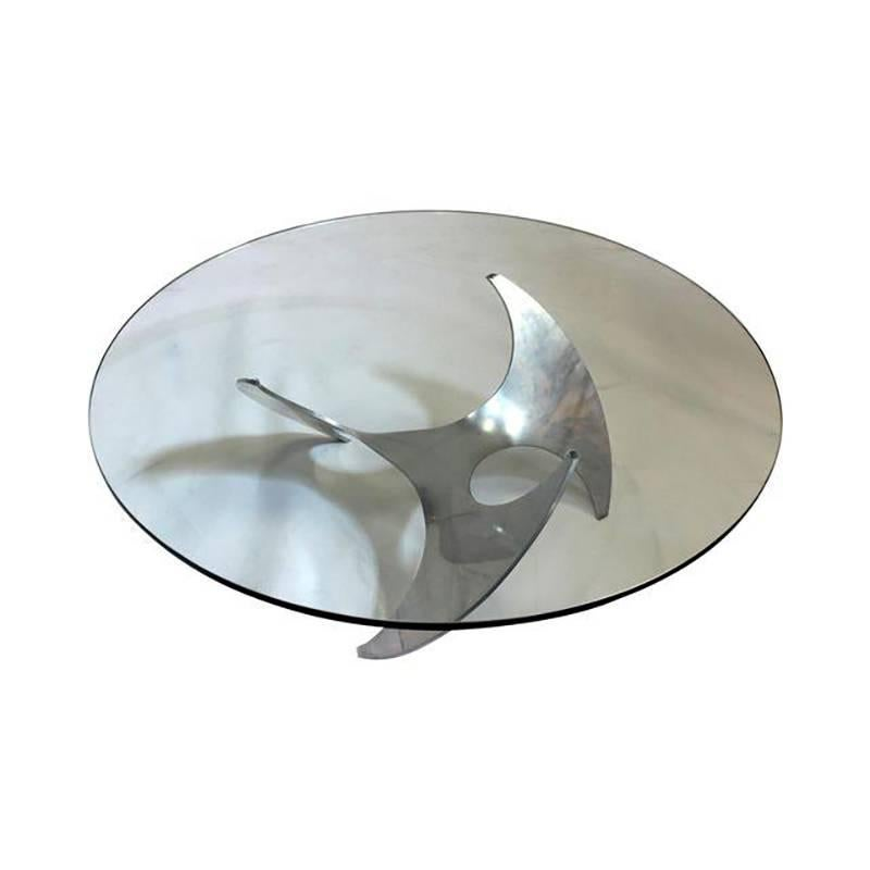 Aluminium and Glass Propeller Table by Knut Hesterberg