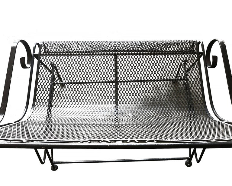 Woodard Wrought Iron High Back Gliding Loveseat For Sale