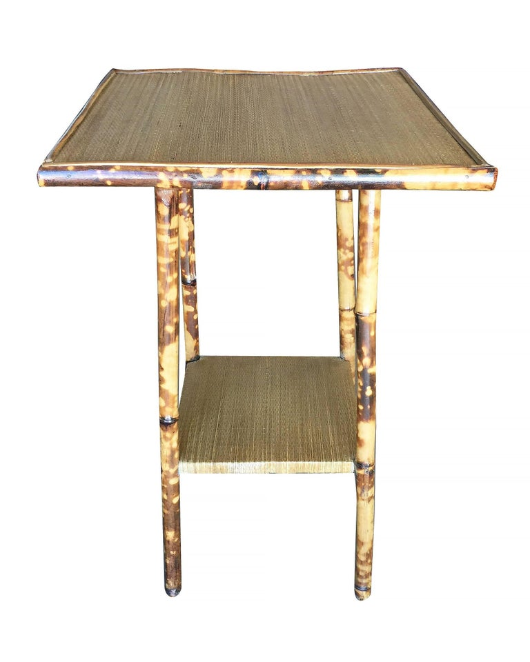 Tiger Bamboo Pedestal Side Table With Straight Legs For