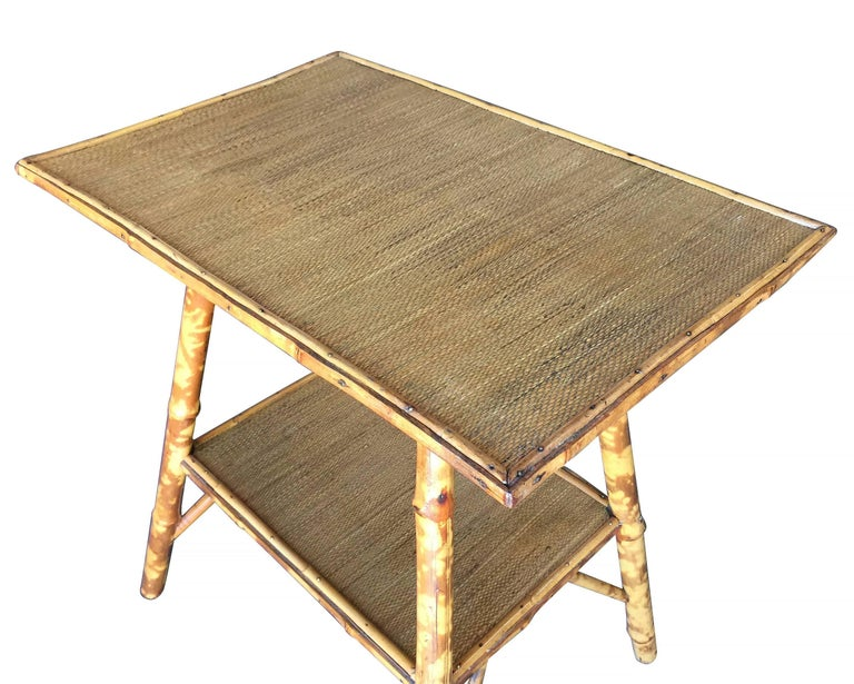 American Restored Pedestal Side Table with Tiger Bamboo Frame with Bottom Shelf For Sale