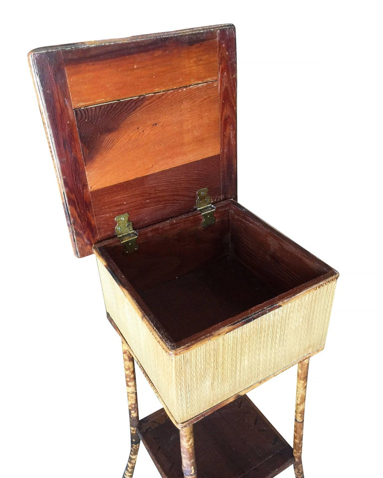 Late Victorian Restored Antique Tiger Bamboo Pedestal with Storage Box For Sale