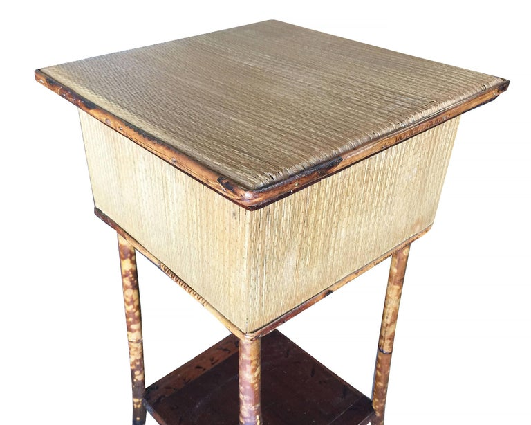 American Restored Antique Tiger Bamboo Pedestal with Storage Box For Sale