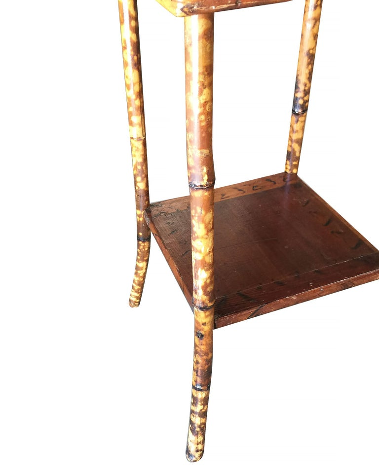 Restored Antique Tiger Bamboo Pedestal with Storage Box In Excellent Condition For Sale In Van Nuys, CA