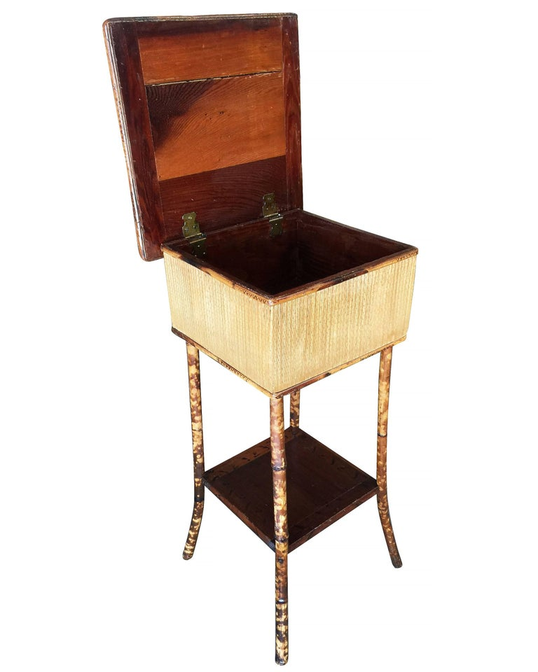 Early 20th Century Restored Antique Tiger Bamboo Pedestal with Storage Box For Sale