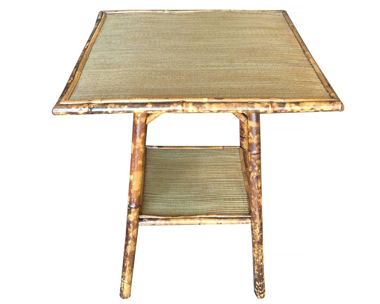 Late Victorian Restored Tiger Bamboo Pedestal Side Table with Large Top For Sale