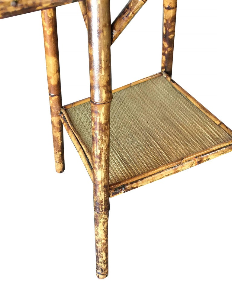 American Restored Tiger Bamboo Pedestal Side Table with Large Top For Sale