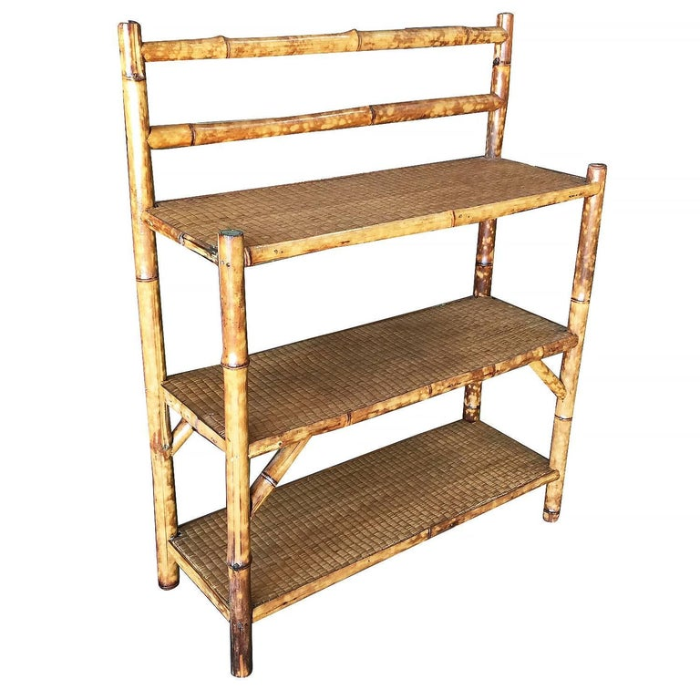 Antique Three Tier Tiger Bamboo Shelve Or Rack With Rice Mat Top Red To