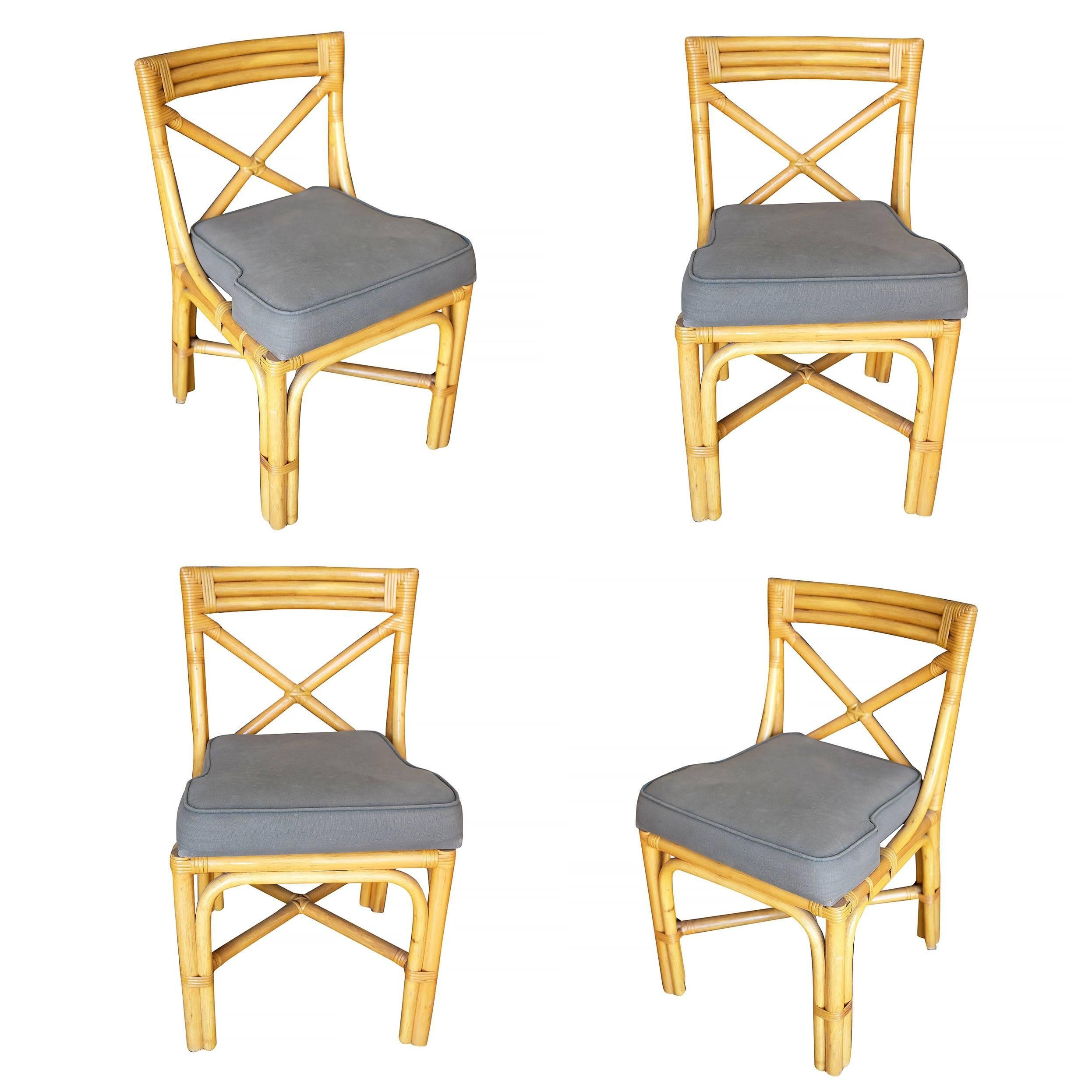 midcentury era rattan dining side chairs with x back 1