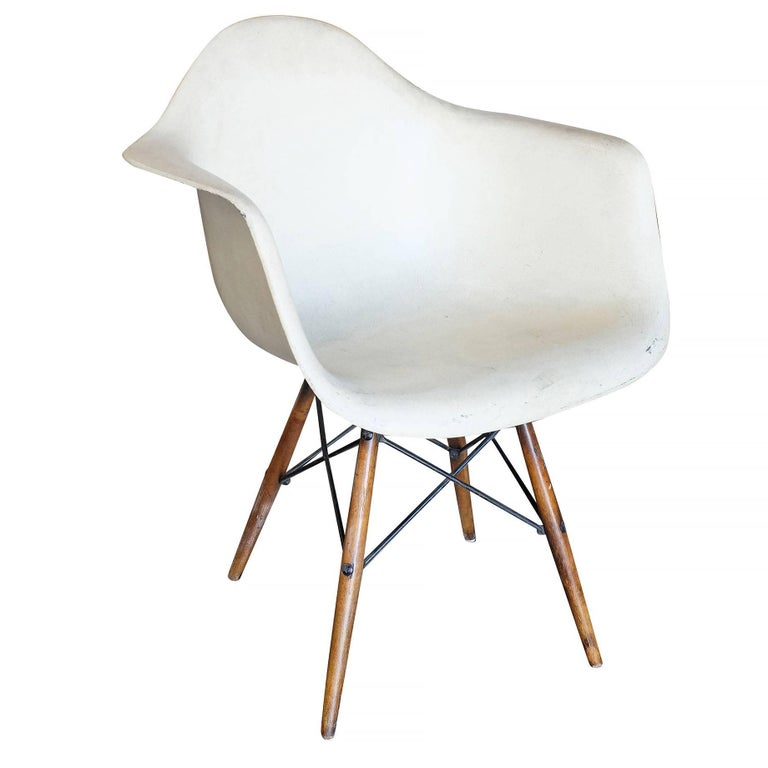 Eames DAW Molded Fiberglass Armchair with Dowel Base for Herman Miller