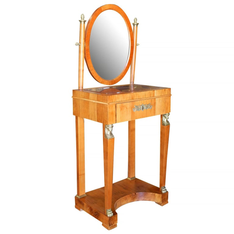 Period French Charles X Style Dressing Table or Vanity with Mirror