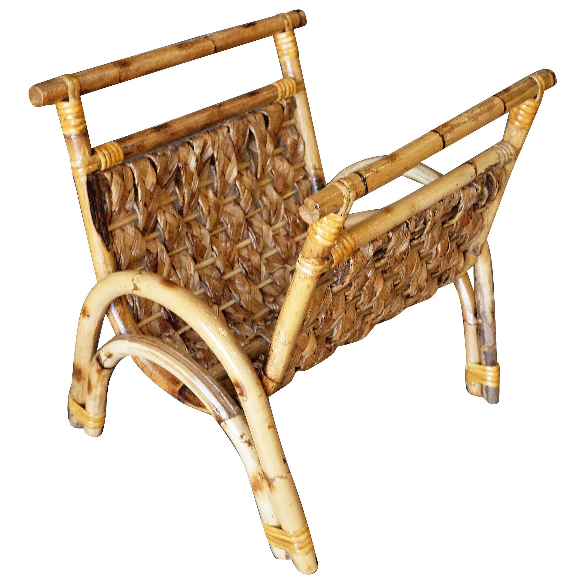 Restored Woven Wicker and Rattan Magazine Rack