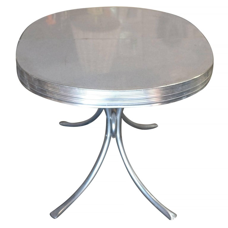mid-century oval formica kitchen dining table with chrome