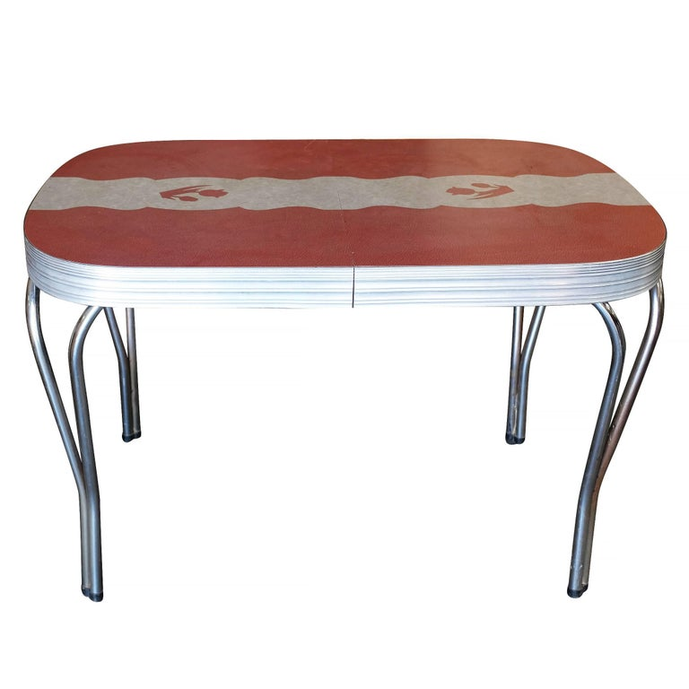 Mid Century Formica Kitchen Dining Table With Inlayed Top At 1stdibs