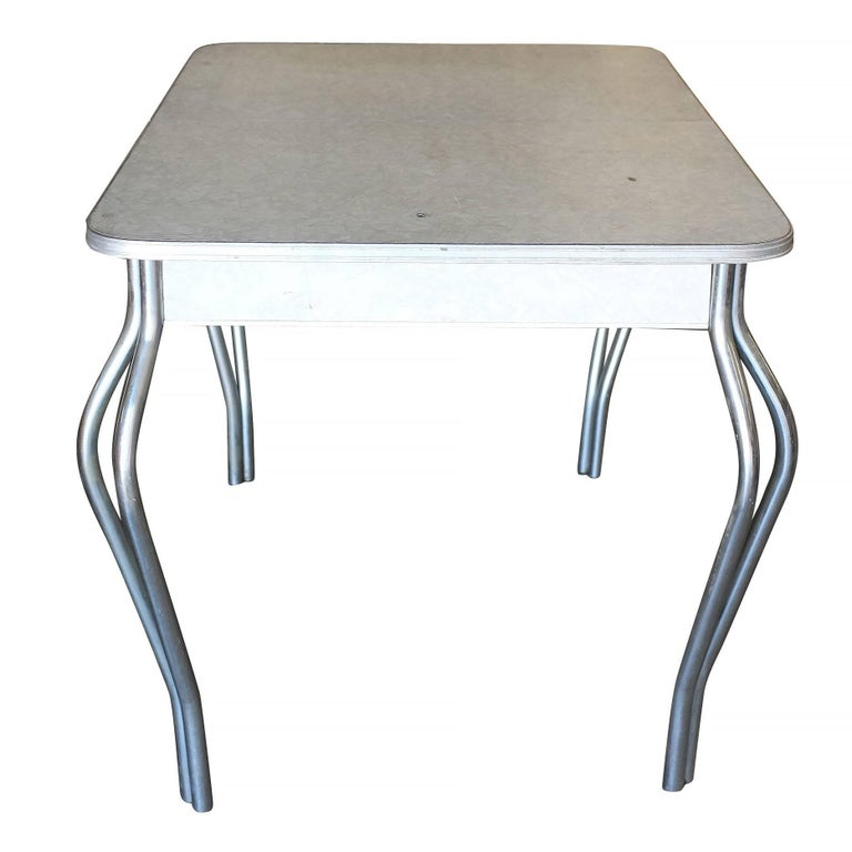 Mid Century Formica Kitchen Dining Table With Chrome Legs At 1stdibs
