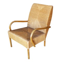 Large Wicker Rush Seat Lounge Chair