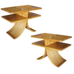 """Paul Frankl Two-Tier """"Bell"""" Side Table for Brown Saltman, Pair"""